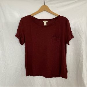 H&M Burgundy Red Pleated Neckline Relaxed T-Shirt